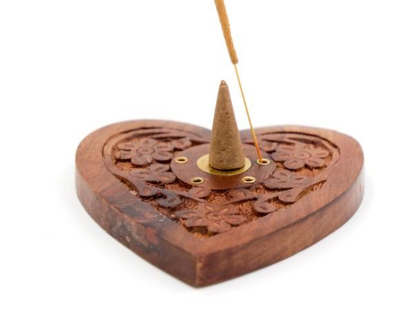 Räucherkegelhalter Herz aus Sheesham-Holz mit Messing Ying&Yang